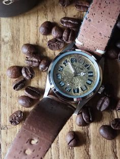 I take vintage dials with perfect scars and patina, and build a new body for them. This one has a brushed Smart Menswear, Watches Photography, Silver Dress, Vintage Watches, Coffee Beans, Stainless Steel Case, Natural Wood, Cork, Naked