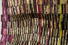 """""""I don't know about DNA, but if you touch something, you leave a charge on it, and anybody else touching it connects with you in a way."""" [Detail of Zebra Crossing III, El Anatsui]"""