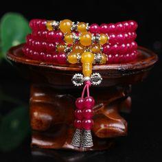 New Fashion 6mm Red  Chalcedony Beads Tibetan Buddhist 108 Prayer Beads Necklace Gourd mala Prayer Bracelet for Meditation
