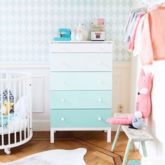 Great idea by Wolf and Wolkje: Ikea Tarva drawer painted in gradient mint tones