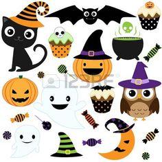 Set di simpatici elementi di vettore di Halloween, gli oggetti e le icone per la progettazione photo