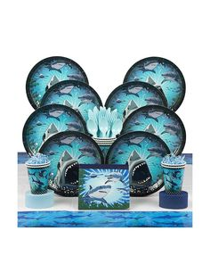 Shark Party Deluxe Kit (Serves 8) - Party Supplies & other Themed Tableware from Birthday in a Box