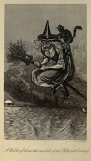 Book illustration 1800's. She must be from the UK, she is flying her broom on the wrong side.