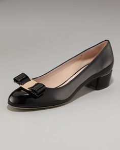 Would love to have these :P Salvatore Ferragamo-Vara Low-Heel Patent Pump in Black