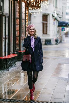zara ankle red boots mango violet blouse pink beret autumn outfit