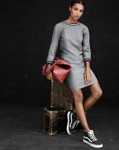 OCT '14 Style Guide: J.Crew women's flannel varsity dress and Vans for J.Crew high top sneakers.