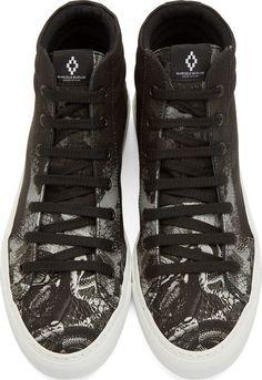 Marcelo Burlon County of Milan Black & Grey Snake Degrade High-Top Sneakers