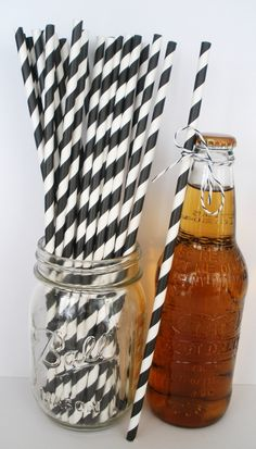 25 Extra Long BLACK & WHITE Stripe Paper Straws by DimeStoreBuddy, $4.50