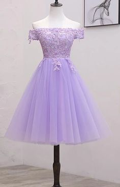 Light Purple Lace And Tulle Off The Shoulder Homecoming Dress, Short Party Dress. - - Light Purple Lace And Tulle Off The Shoulder Homecoming Dress, Short Party Dress Source by Purple Grad Dresses, Grad Dresses Short, Hoco Dresses, Light Purple Dresses, 8th Grade Prom Dresses, Purple Party Dress, Lavender Dresses, Bridesmaid Dresses, 1950s Dresses