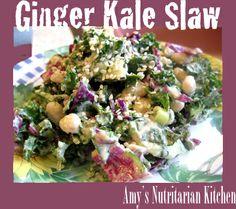 Ginger Kale Slaw with Miso-Ginger Dressing