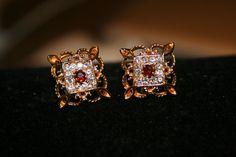 Vintage Avon rhinestone earrings Garnet by GeniceRill on Etsy, $7.00