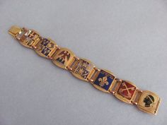 Vtg Art Deco FRENCH BRASS & ENAMEL LINK BRACELET FLAGS CREST of FRANCE Travel 7"