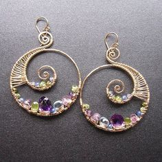 Luxe Bijoux 73 Hammered swirl shapes with by CalicoJunoJewelry, $224.00
