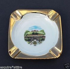 #ashtray WIEN Austria (Vienna) ceramic squared with gold painted edges visit our ebay store at  http://stores.ebay.com/esquirestore