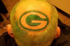 Bad Paid-For Tattoos: Packers Pride. from Henderson, Nevada snapped this shot of a guy getting a tattoo on the top of his head. Normally, we'd think this was a bit strange, but this might be a new Ellen favorite. Go Packers! Packers Baby, Go Packers, Greenbay Packers, Green Bay Packers Cheesehead, Green Bay Packers Fans, Bad Tattoos, Tatoos, Go Steelers, Worlds Best Tattoos