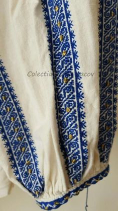 Romanian blouse detail. Sonia Isacov collection Folk Costume, Costumes, Floral Tie, Alexander Mcqueen Scarf, Cross Stitch Patterns, Textiles, Embroidery, Awesome, Pictures