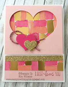 Stampin Up Heart Happiness, Stampin Up Occasions Catalog 2018. Kim Williams, stampinwithkjoyink.typepad.com, Pink Pineapple Paper Crafts. Pretty Valentine card. Painted with Love designer paper and sparkle and glitter. Card idea for Valentines day. I love valentine hearts!