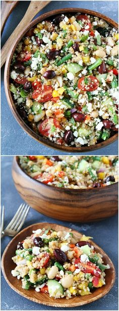 Mediterranean Three Bean Quinoa Salad Recipe on twopeasandtheirpo. This is my favorite quinoa salad! It is great as a main dish or side dish! Mediterranean Salad with Quinoa The Kim Six Fix thekimsixfix Appetizers and Tiny Bites Mediterranean Thr Quinoa Salad Recipes, Vegan Recipes, Cooking Recipes, Greek Quinoa Salad, Kale Recipes, Quinoa Diet, Side Salad Recipes, Cooking Tips, Quinoa Bean Recipe