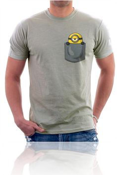 MINION In My Pocket t shirt men women's funny printed t shirtsUS standard plus size factory outlet wholesale Shirt Print Design, Tee Design, Shirt Designs, Cool Shirts, Funny Shirts, Tee Shirts, Homemade Shirts, T Shirt Painting, Casual Wear For Men