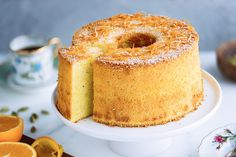 Airy, bouncy, and lightly sweet, Orange Chiffon Cake is an elegant pastry with a warm, citrusy aroma from orange zest and a hint of cardamom. #orange #chiffoncake | Easy Japanese Recipes at JustOneCookbook.com Easy Japanese Recipes, Japanese Food, Japanese Style, Tapas, Orange Chiffon Cake, Angel Food Cake Pan, Elegant Cakes, Cake Flour, Serving Plates
