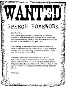 Speech therapy homework parent letter by Tween Speech Therapy
