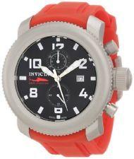Invicta Men s 1857 Russian Diver Chronograph Black Dial Red Polyurethane  Watch Chronograf f34b64264ec