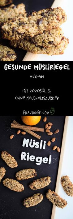 Gesunde Müsliriegel selber machen Granola granola with coconut oil Vegan Granola, Healthy Granola Bars, Muesli Bars, Chocolate Granola, Healthy Vegan Snacks, Healthy Desserts, Dessert Recipes, Vegan Protein, Eating Healthy
