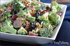 Christmas 2014 -  made with packaged broccoli slaw mix, grapes, craisins, walnuts, and bacon.