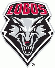 New Mexico Lobos Primary Logo (2009) - A front-facing wolf head in silver, black, and red with LOBOS written above in red all encased within a black, white, and silver shield