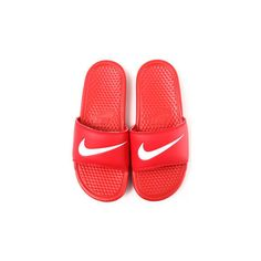 benassi swoosh sandals ($18) ❤ liked on Polyvore featuring shoes, sandals, flats, flat pumps, flat heel shoes, flat pump shoes, flat shoes and flat heel sandals