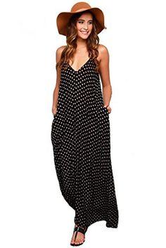 Mixmax Women's Strappy Casual Loose Boho Chiffon Pocket Long Maxi Dress (Asian XXL, Black dot)