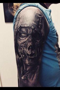 Hooded Zombie Skull Tattoo by Sandry Riffard Tattoos 3d, Zombie Tattoos, Evil Tattoos, Skull Sleeve Tattoos, Wicked Tattoos, Creepy Tattoos, Badass Tattoos, Tattoo Sleeve Designs, Body Art Tattoos