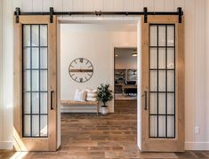 Double french doors are eye catching. There are so many different places to put double french doors. Check out a few of our favorite areas to put a double french door. Old French Doors, Interior Double French Doors, French Doors In Bedroom, Double Sliding Barn Doors, Kitchen Doors, Interior Barn Doors, Rustic Barn Doors, Farmhouse Interior Doors, Farmhouse Door