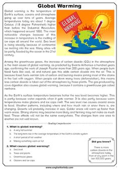 The issue of global warming has been widely discussed at the highest governmental and scientific levels recently. The issue is indeed very. Writing A Persuasive Essay, Essay Writing Skills, Air Pollution Facts, Global Warming Project, English Projects, French Language Lessons, Reading Comprehension Strategies, English Reading, Reading Worksheets
