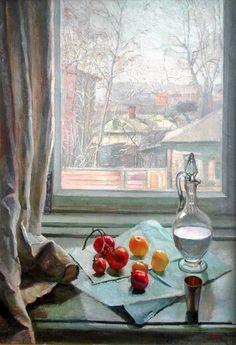 Жибинов Алексей Петрович (Россия, 1905 - 1955) «Натюрморт с пейзажем» 1950-е