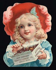NECCO'S Chocolates, New England Confectionery Co., Boston trade card with pretty little girl.