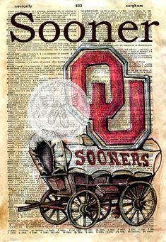 Print: University of Oklahoma Logo Zeichnung auf antike Wörterbuch Vintage Diy, Papel Vintage, Oklahoma Logo, University Of Oklahoma, Oklahoma Sooners, Decoupage, Book Page Art, Book Art, Anime Comics