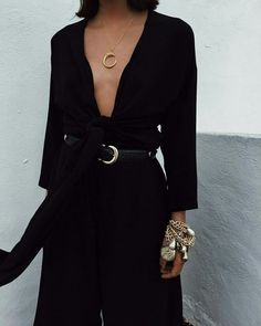 Monochrome Black V-Neck Low Plunge Belted Jumpsuit With Golden Simpe Accessories Jewellery