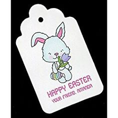 Easter Gift Tags, Bunny with Tulip, Personalized Set of 25 Easter Gift, Happy Easter, College Discounts, Sweater Nails, School Shirts, T Shirts With Sayings, Tulip, Gift Tags, Free Pattern