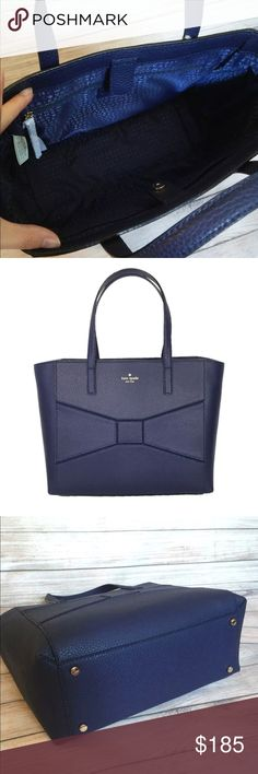 """Kate Spade NAVY TOTE/Purse Brand New With Tags **SHIPS OUT NEXT DAY WITH PRIORITY MAIL**  Simple Bow Detail On Front Kate Spade New York Lettering At Top Front Center Gold Hardware Dual Leather Handles Open Top With Hidden Magnetic Snap Closure Interior KSNY Fabric Lining Inside One Zip Pocket With Leather Pull Two Large Slip Pockets Dimensions : 12 (L) 10 (H) 5 (D) Drop length 4"""" handheld  Color: French Navy kate spade Bags Totes"""