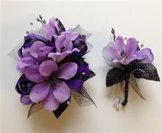 Amethyst purple silk prom corsage with purple and black trim and matching boutonniere. Letsdancegarters.com