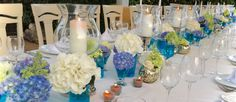 Table decor in white & blue shades    Декор стола в бело синих тонах    Decoracion de mesa en tonos blancos y azules