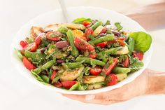Nicoise-inspired salad makes a light yet filling meal. It's made of potatoes, cherry toms, french beans, olives, capers, herbs and a zesty mustard dressing.