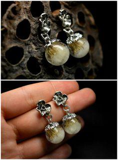 Valentines gift, Real Dandelion earrings, Crystal Resin, Epoxy Resin, Eco Jewelry, Natural Earrings, Gift for Woman, Stud Earrings by VITALIAart on Etsy