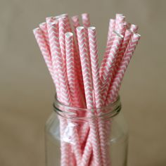 Sweet Pink Paper Straws for an It's a Girl Baby Shower from The Entertaining Shoppe