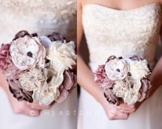 lace and fabric hand made wedding bouquet