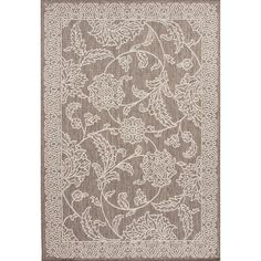 Anchor your patio seating group or offer natural appeal to your sunroom with this hand-hooked rug, featuring a scrolling floral motif in a neutral palette.