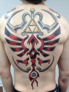Full Back Hylian Shield Zelda Tattoo