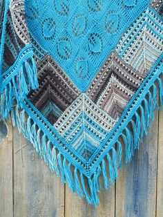 """Patches""  turquoise (knitted shawl, wrap, knitting lace, entrelac, modular shapes, grannie squares, knitting patchwork)"