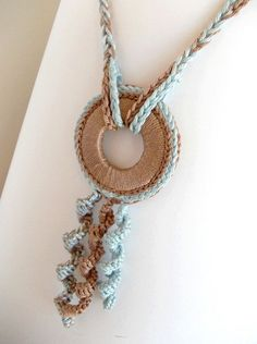 Ethnic Crochet Necklace, Light Blue and Beige Fiber Necklace, Ethnic Summer Pendant, Nursing Necklace on Etsy Use the washers. crochet necklace is creative inspiration for us. Textile Jewelry, Fabric Jewelry, Beaded Jewelry, Handmade Jewelry, Jewellery, Fabric Necklace, Diy Necklace, Necklace Ideas, Pendant Necklace
